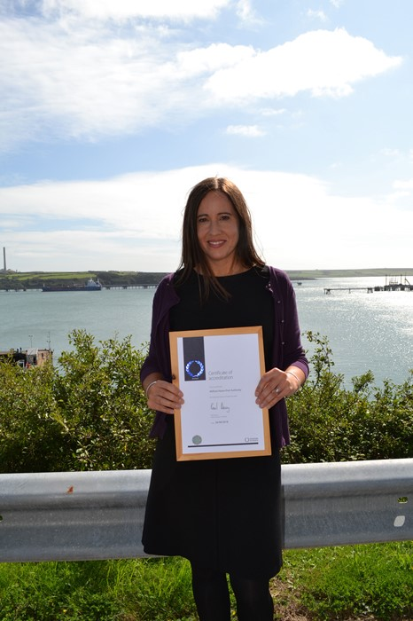Vidette Swales, HR Director at the Port of Milford Haven, with the Investors In People certificate